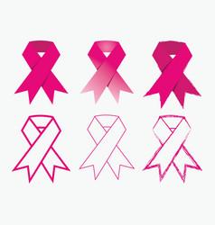 breast cancer awareness pink ribbon icons set vector image