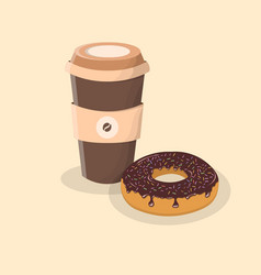 coffee to go and donut with chocolate icing and vector image