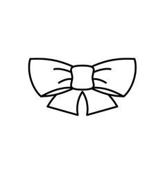 Ribbon bow thin line icon vector image