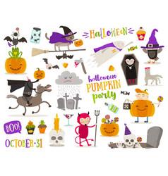 set of halloween cartoon characters sign symbol vector image vector image