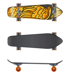 A skateboard in different angles vector image vector image
