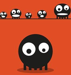 Cute monsters halloween background vector image