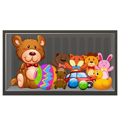 Many dolls and balls on the shelf vector image