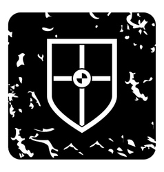 Protection shield icon grunge style vector image