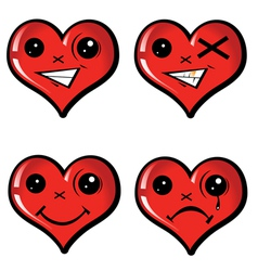 set emotional hearts vector image