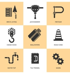 Trendy flat working tools icons black silhouettes vector image vector image