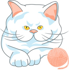 cute white cat with yellow eyes and ball of yarn vector image