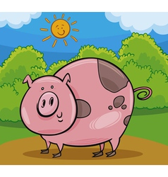 pig livestock animal cartoon vector image