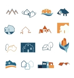 Real Estate web icons set House logos vector image