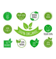 set of vegan organic healthy food signs logos vector image vector image