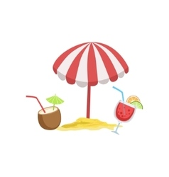 Two Cocktail Tropical Drinks And Beach Umbrella vector image