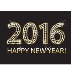 2016 happy new year in gold and diamonds vector image vector image