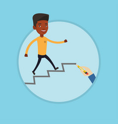 businessman running upstairs vector image