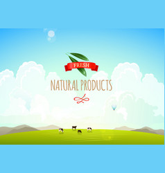 Nature landscape with hills clouds and moutains vector image vector image