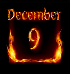ninth december in calendar of fire icon on black vector image vector image