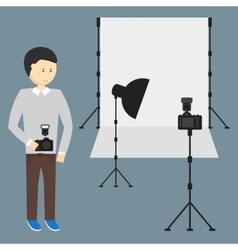 Photography Studio with a Light Set Up vector image
