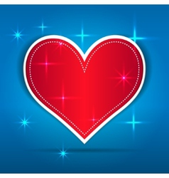 Red Paper Heart on blue background vector image