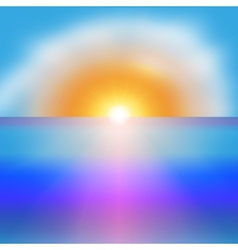 Sea sunrise with a bright sun background vector image
