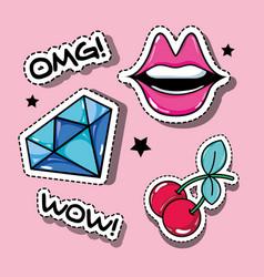 set fashion pop art patches design vector image
