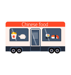 street food festival chinese trailer vector image vector image