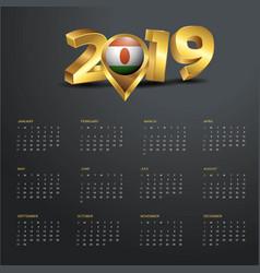 2019 calendar template niger country map golden vector image