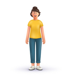3d cartoon character young woman standing vector