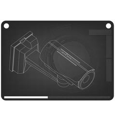 3d model of surveillance camera on a black vector image