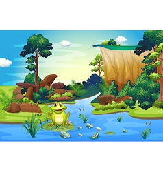 A frog playing at the river near the cliff vector image