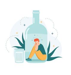 Alcohol addiction drunk man inside bottle vector