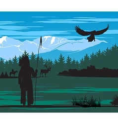 American indian on pine wood and snow mountain vector
