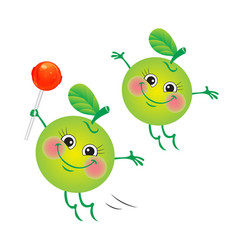 Apple character on a white background vector
