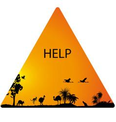 Australian fauna and florai n triangular help sign vector
