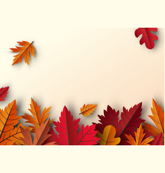 autumn leaves background design with copy space vector image
