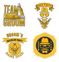 bachelor party t shirt design label set vector image