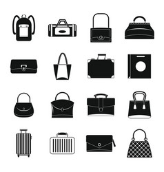 bag baggage suitcase icons set simple style vector image vector image