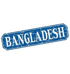 Bangladesh blue square grunge retro style sign vector image