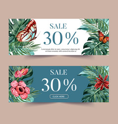 Banner design with tropical theme butterfly vector