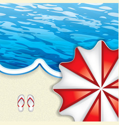 beach umbrella from above and flip-flop vector image