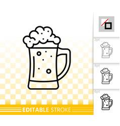 beer mug simple black line tall glass icon vector image