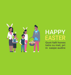 Big african american family on happy easter poster vector