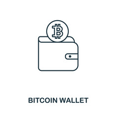 bitcoin wallet outline icon monochrome style vector image