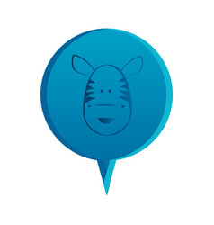 Blue round chat bubble with zebra animal inside vector