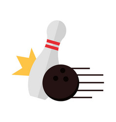 Bowling crashing black ball pin game recreational vector