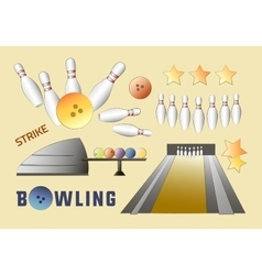 Bowling icons set vector