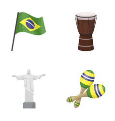 Brazil country flag drum brazil country set vector