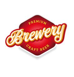brewery sign label lettering vintage vector image