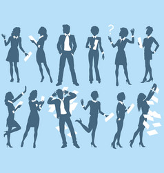 business man and woman silhouettes vector image