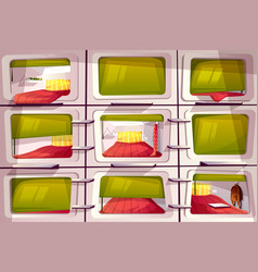 Capsule or pod hotel rooms vector