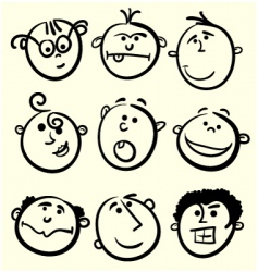 Cartoon face collection vector