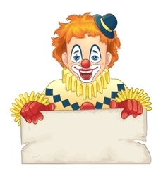 Cartoon funny clown with blank board vector